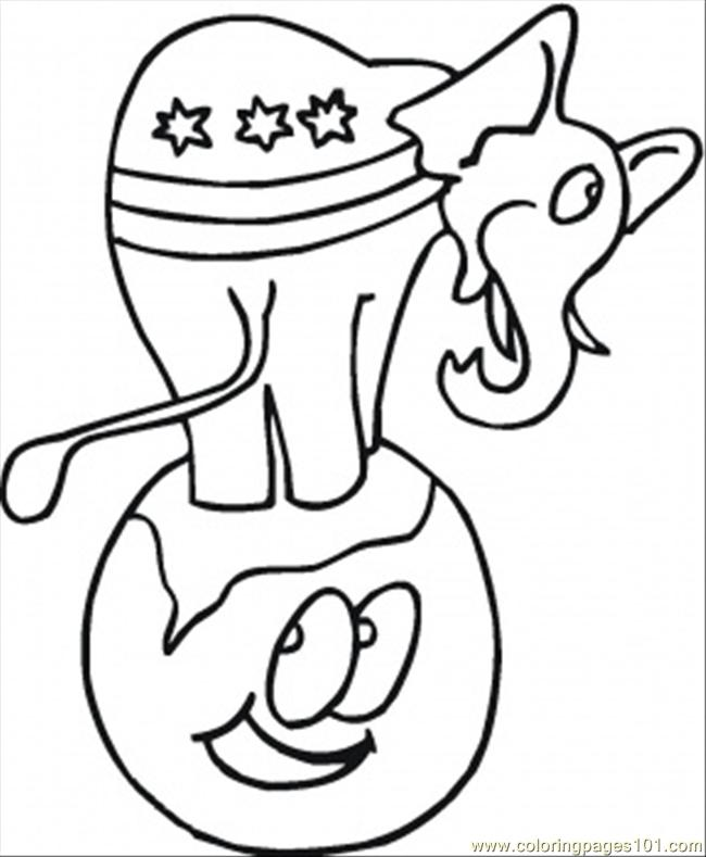 Elephant On The Earth Coloring Page