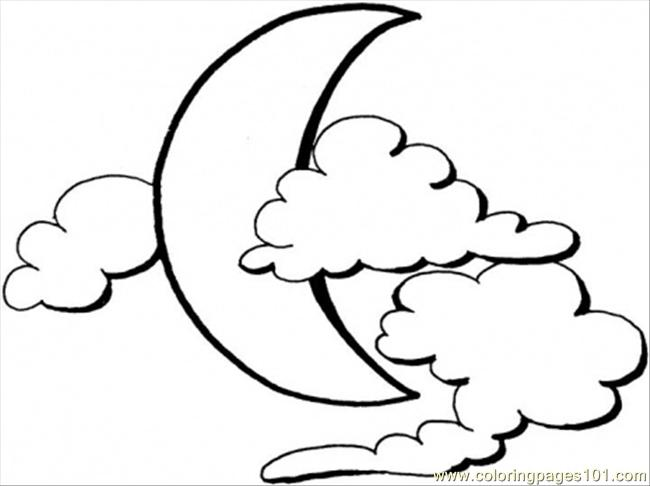 Moon In Clouds Coloring Page