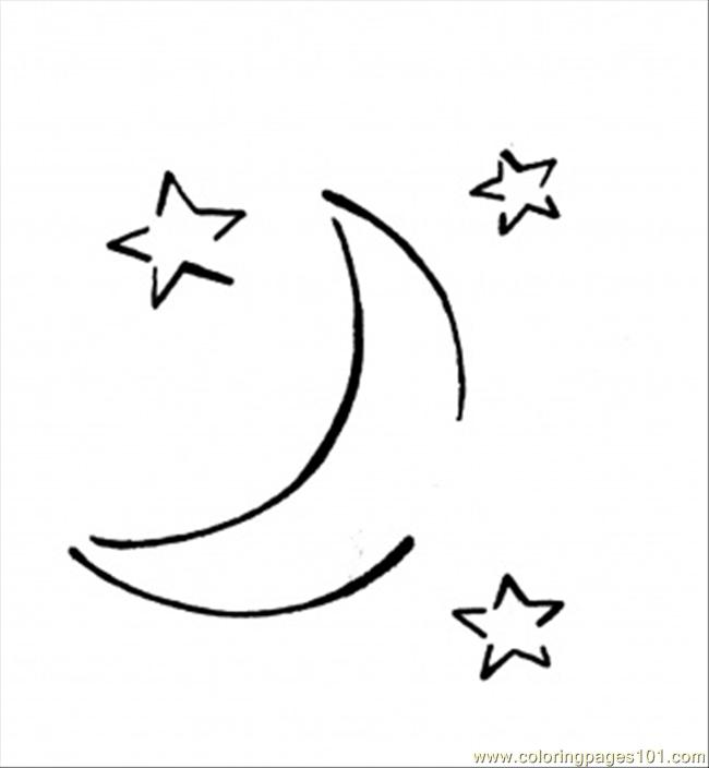 Moon In The Stars Coloring Page