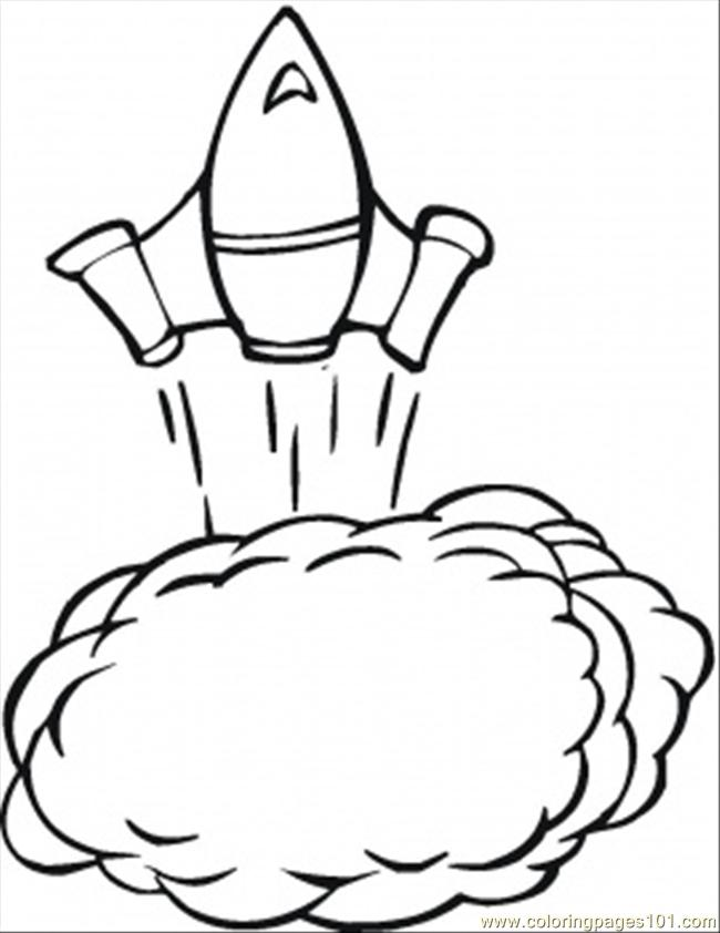 Space Ship Is Taking Off Coloring Page