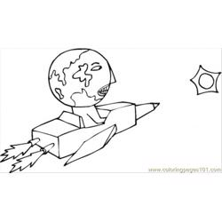 Earth And Satellite Free Coloring Page for Kids