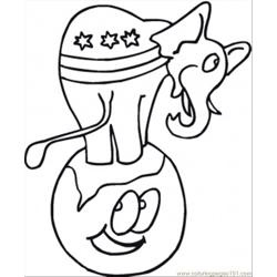 Elephant On The Earth Free Coloring Page for Kids