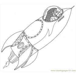 Hedgie Space Ship Free Coloring Page for Kids