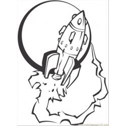 Space Ship Is Taking Off The Earth Free Coloring Page for Kids