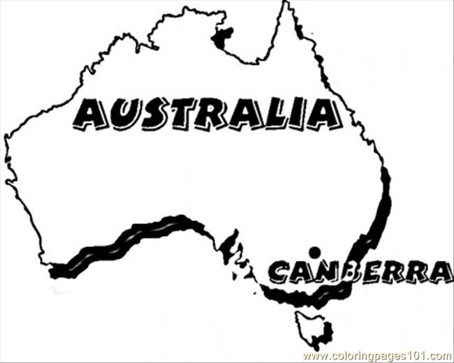 Map Of Australia Coloring Page