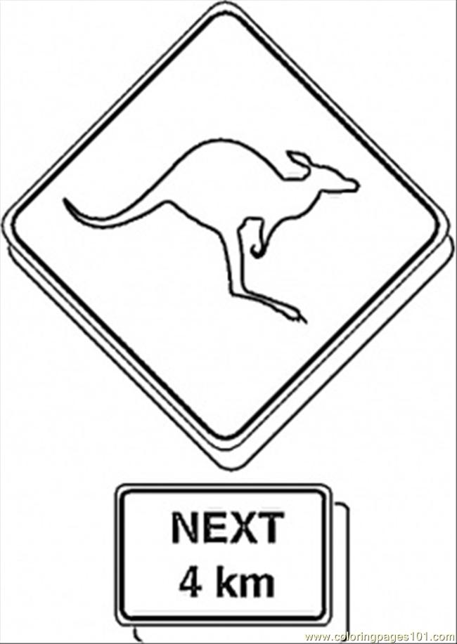 Sign On The Road Coloring Page