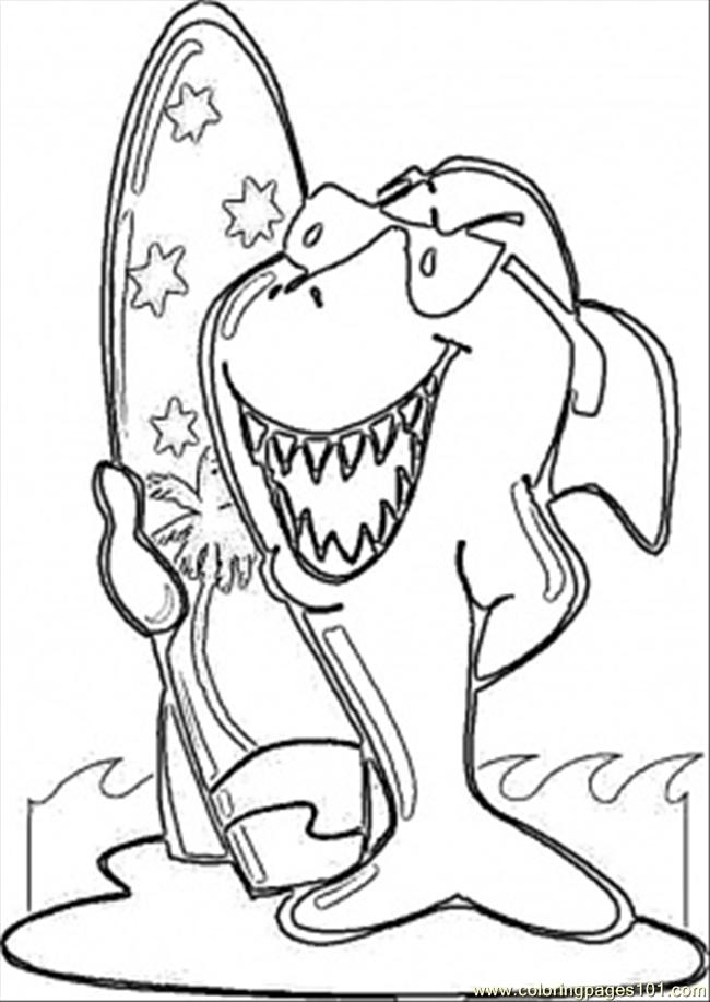 Surfing Shark Coloring Page