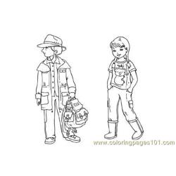 Australian children Free Coloring Page for Kids