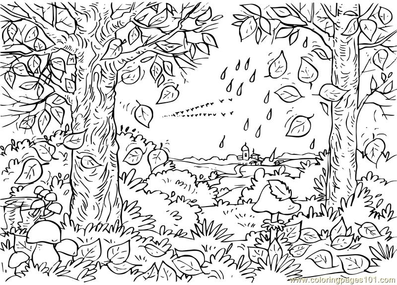 autumn tree coloring page - Fall Coloring Pages Free