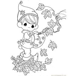 Autumn kids Free Coloring Page for Kids