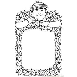 Autumn frame Free Coloring Page for Kids