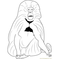 Gelada Baboon Free Coloring Page for Kids