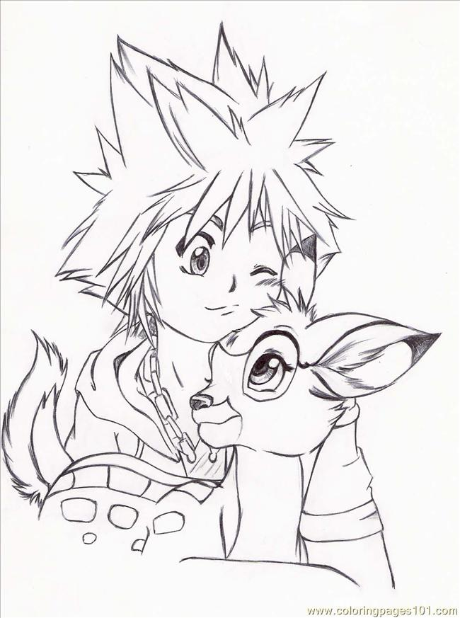 Sora And Bambi By Ring A Ling Coloring Page