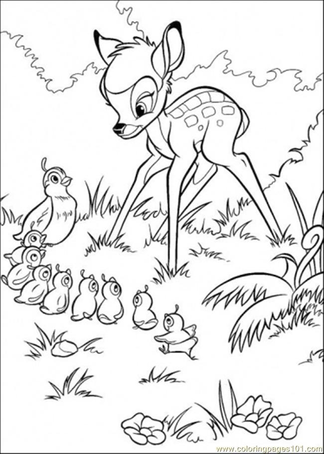 Bambi And The Pheasant Coloring Page
