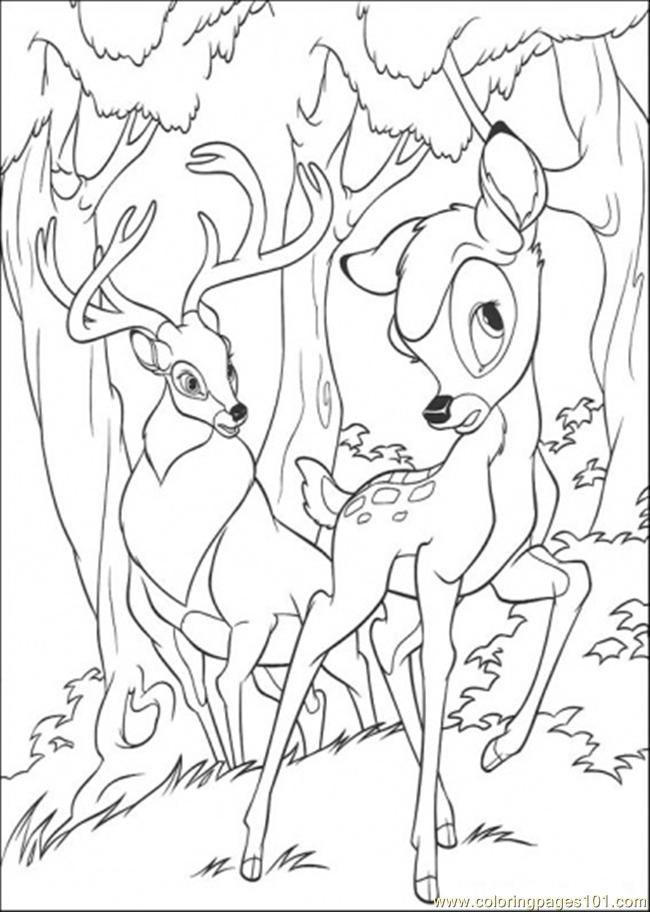 Bambi Hears Something Coloring Page