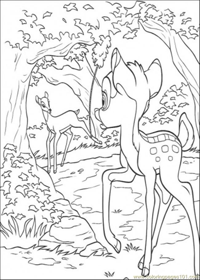 Bambi Meets His Mom Coloring Page