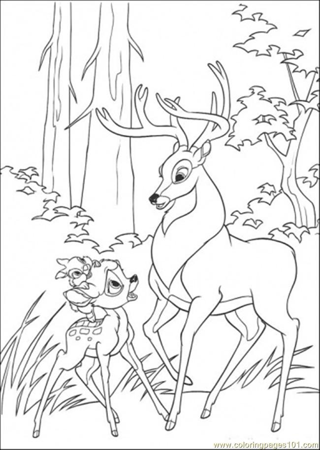 Bambi Thumper And Roe Coloring Page