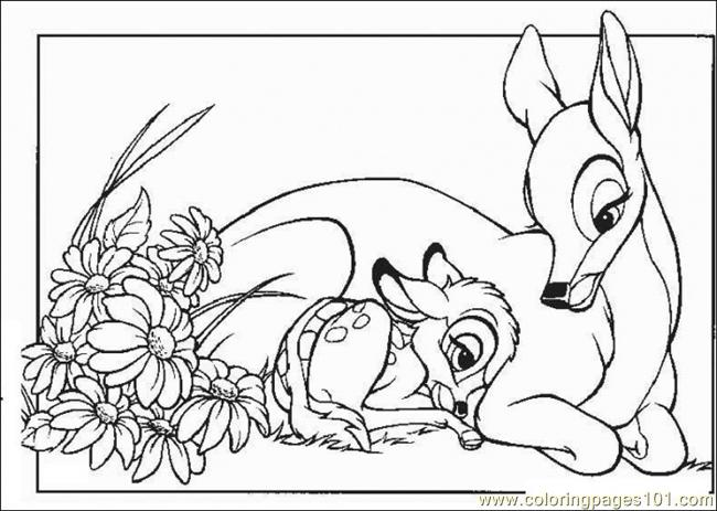 Bambi With His Mom Coloring Page