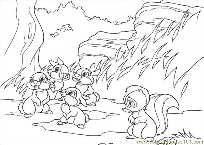 Flower And Rabbits Coloring Page