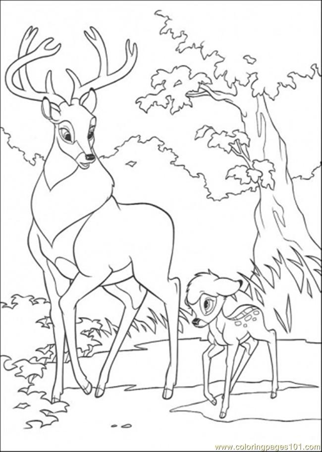 Roe And Bambi Are Walking Together Coloring Page