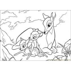 Faline Plays With Bambi And His Mom Free Coloring Page for Kids