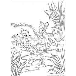 Faline With Bambi Free Coloring Page for Kids
