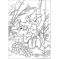 Two Rabbits Are Playing Together Free Coloring Page for Kids
