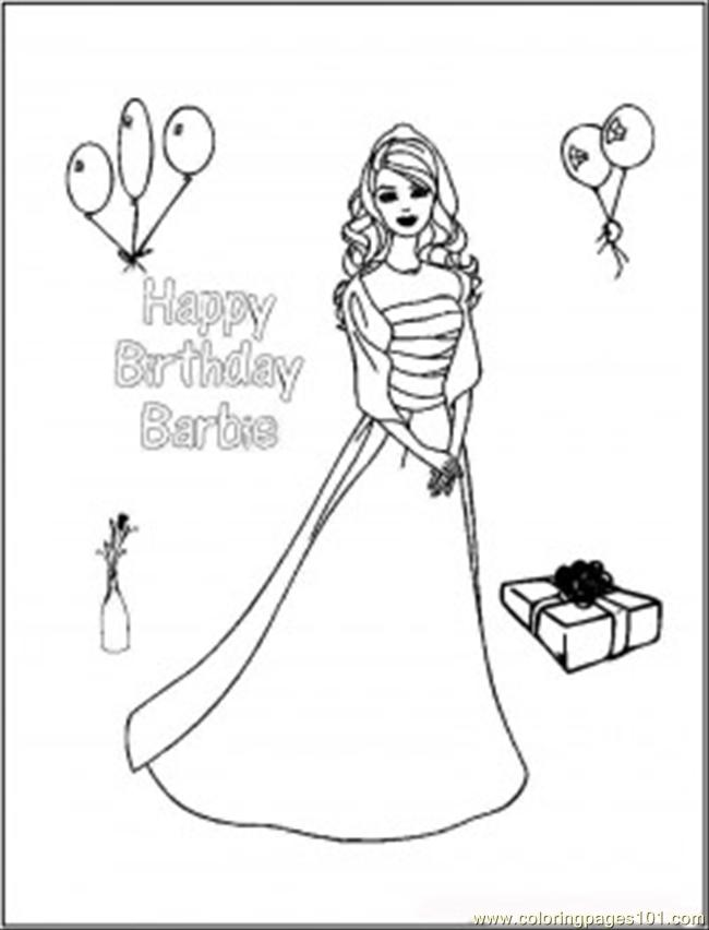 34 50442084happy Birthday Barbie Coloring Page - Free ...