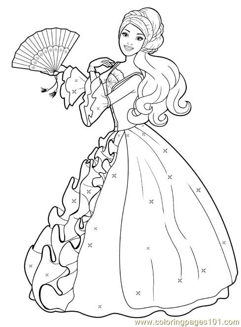 barbie princess colouring pages 2 coloring page - Cartoon Coloring Pages 2