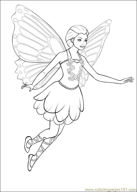 Barbie Mariposa 02 Coloring Page