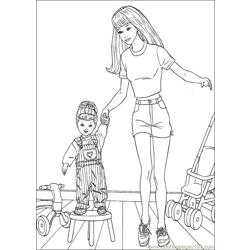 Barbie Castle Free Coloring Page for Kids