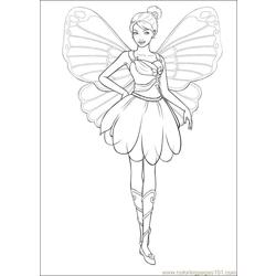 Barbie Mariposa 5 Free Coloring Page for Kids