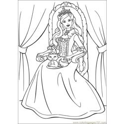 Barbie Princess 4 Free Coloring Page for Kids