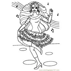 Dancing barbie Free Coloring Page for Kids
