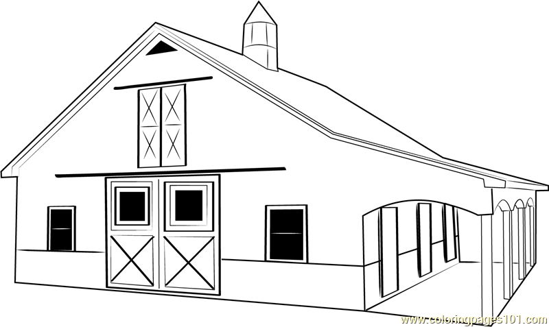 Custom Horse Barn Coloring Page