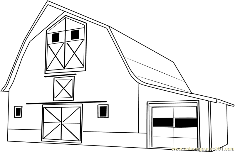 Fall barn coloring page