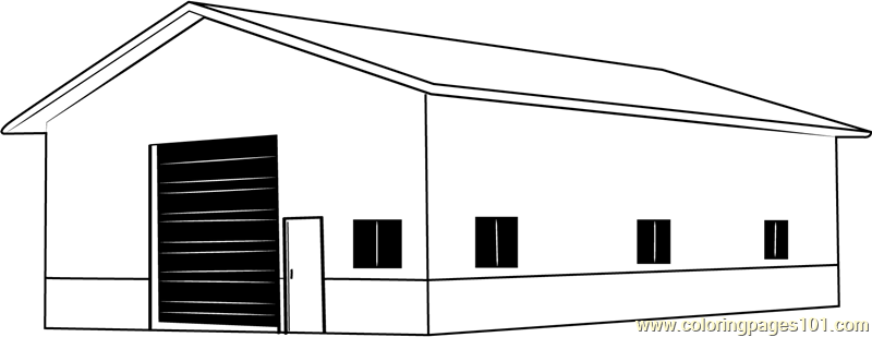 Garage Barn Coloring Page Free