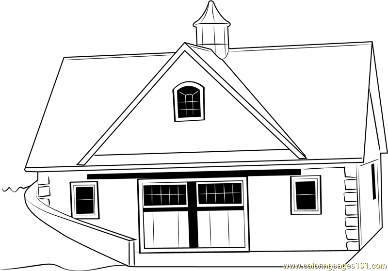 Roof and Stucco Barn Coloring Page