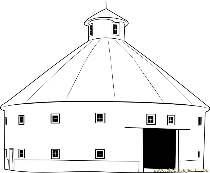 Round Barn House Coloring Page - Free Barn Coloring Pages ...