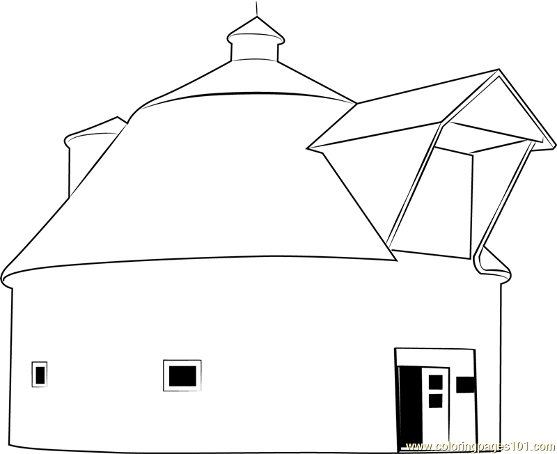 The Iowa Barn Coloring Page