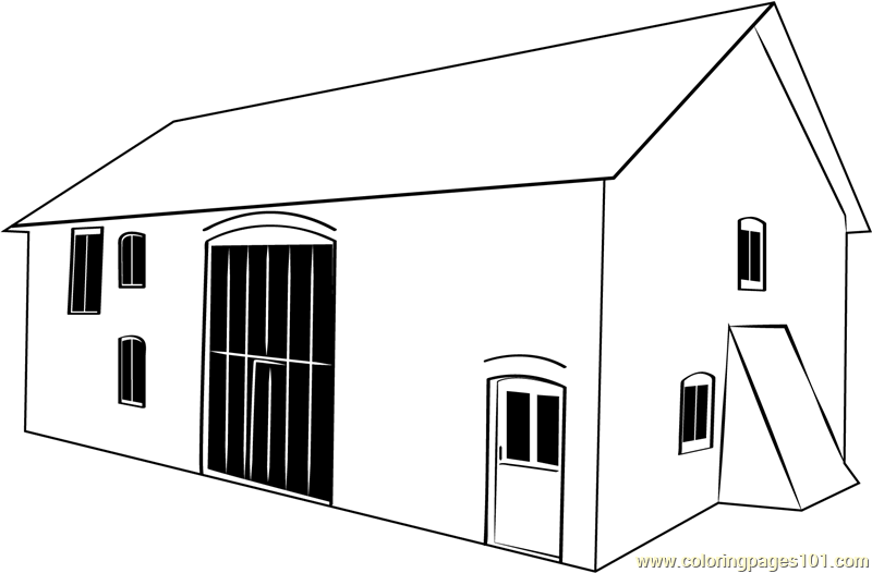 Threshing Barn Coloring Page