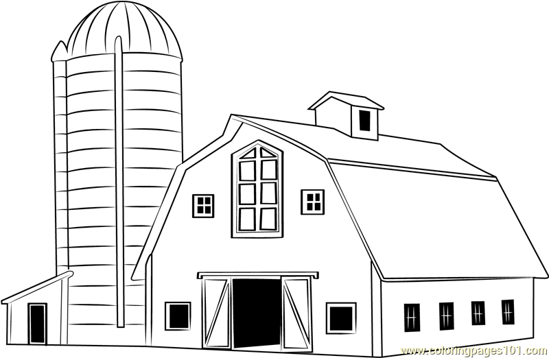 Traditional Wood Barn Coloring Page - Free Barn Coloring Pages ...