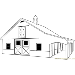 Custom Horse Barn Free Coloring Page for Kids