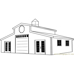 Red White Barn Free Coloring Page for Kids