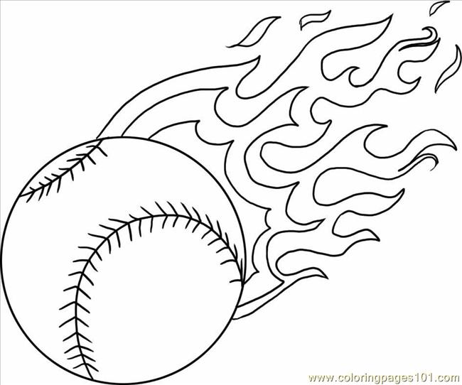 A Baseball With Flames Step 4 Coloring Page Free Baseball Coloring
