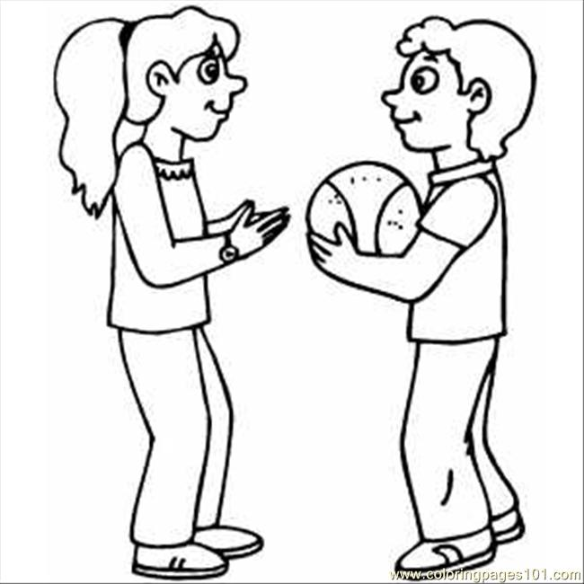 82 Kids With Basketball Coloring Page