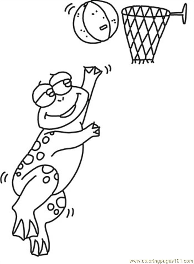 89 Ll Playing Frog Coloring Page Coloring Page - Free Basketball ...