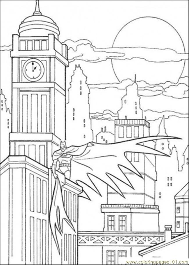 Batman At Gotham Coloring Page