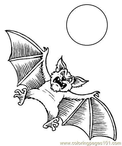 Bats and sun Coloring Page