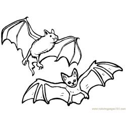 Two Bats Enjoy Free Coloring Page for Kids
